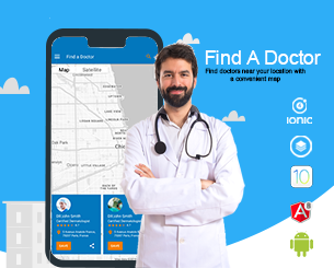 Find A doctor .. ionic 4 Theme ionic 4 theme using maps to find the nearest doctors according to place and category