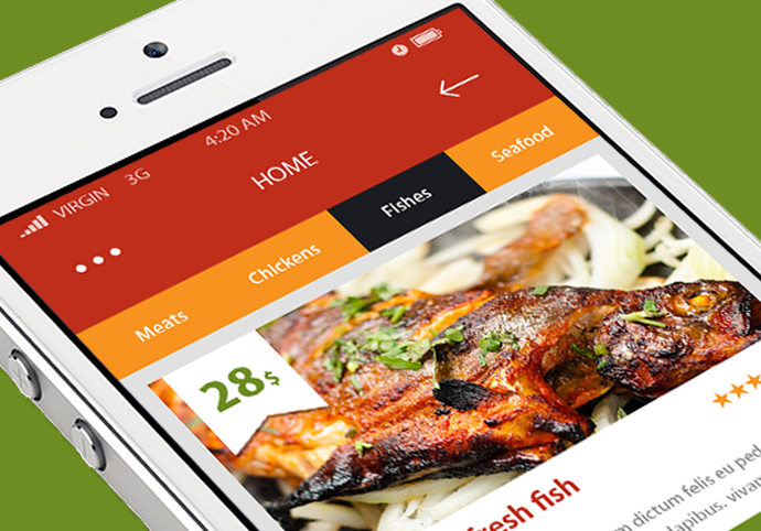 Food Section ionic app theme