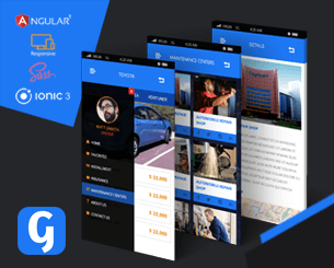 Gear Box- ionic 3 template for car trading and rent Ionic 3 theme for car trade , rent and maintenance centers for the best ionic car market hybrid app. using Ionic 3 , Angular 5, Cordova ,Typescript and Flat design