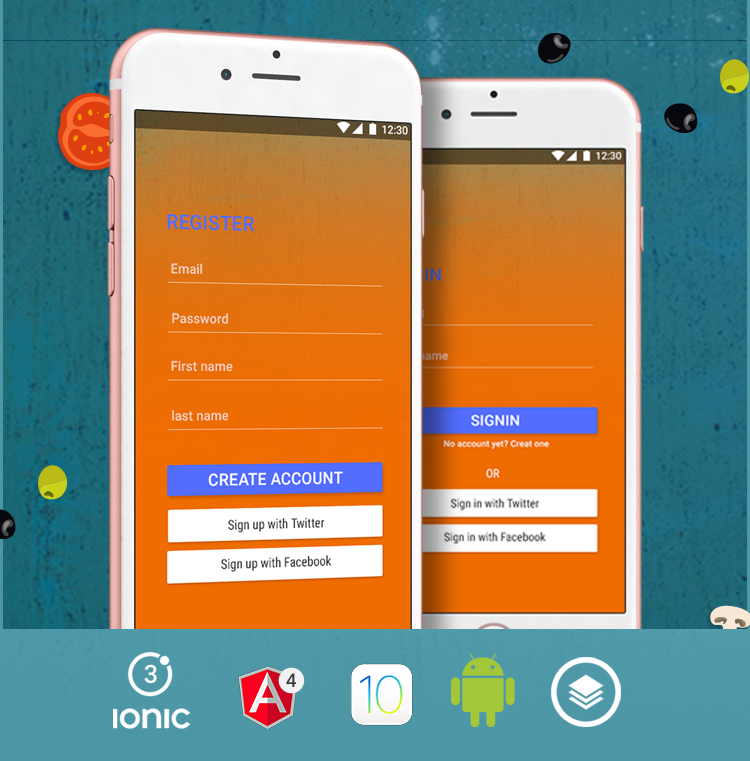 Orange Login&sign up-ionic app theme