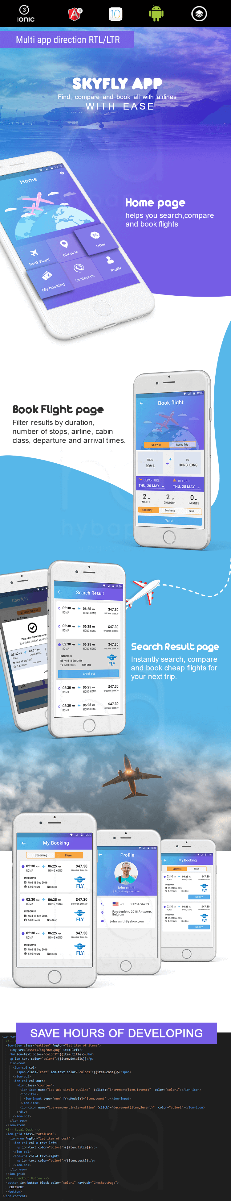 SkyFly - Airline reservation theme -ionic app theme