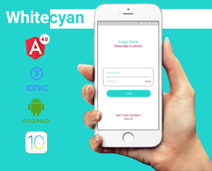 white Cyan Login and Sign Up ionic app theme