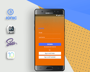 Orange Login&sign up ionic app theme