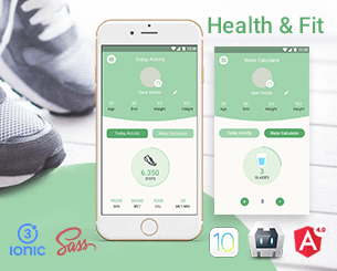Health & Fit ionic 3 theme for diet, health, fitness, exercises and water cups numbers ..etc