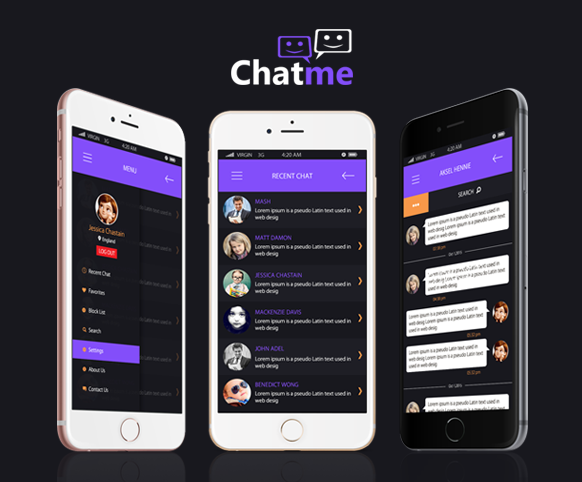 Chat Me ionic app theme