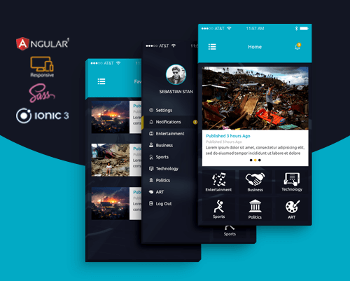 Inside-News app template ionic app theme